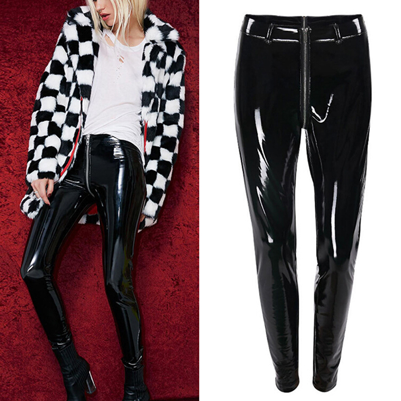 Women Black Red Latex Rubber Pants Sexy Shiny PU Leather Leggings With Back Zipper Push Up Faux Leather Pants