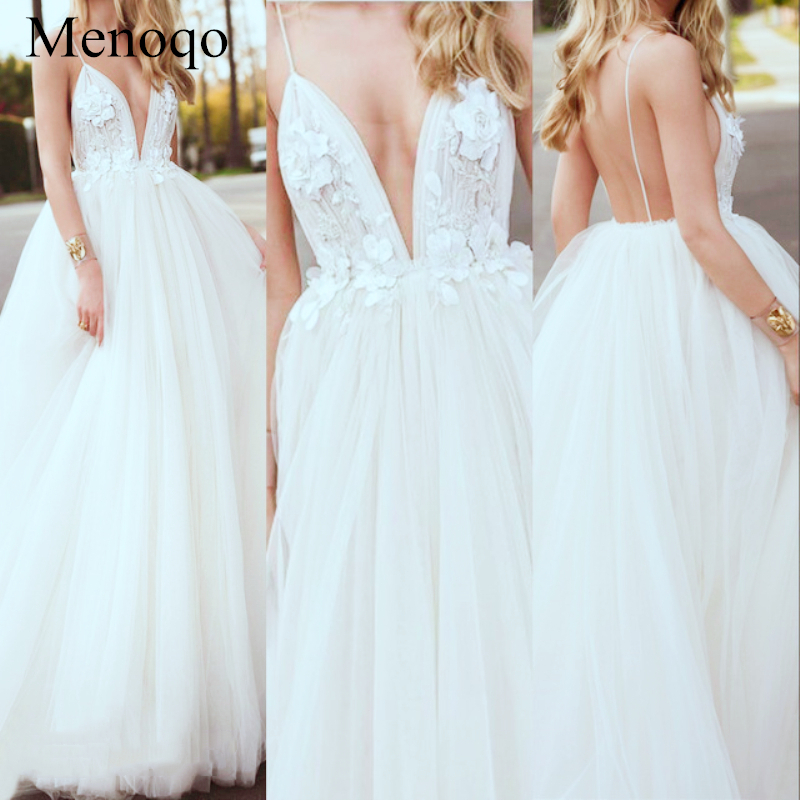 A line Flowers Sexy V Neck Spaghetti Straps Tulle Long Evening Dresses for Women Special Occasion Dresses