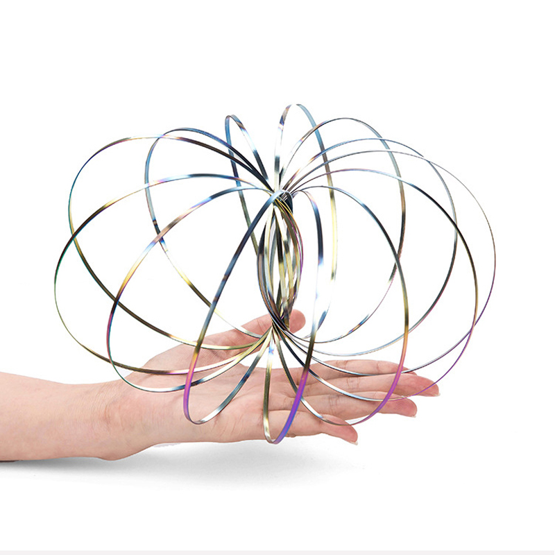3D Flow Ring Kinetic Spring Toys Spinner Metal Anti Stress Reliever Flow Spinner Ring Intelligent Autism Toy Ift