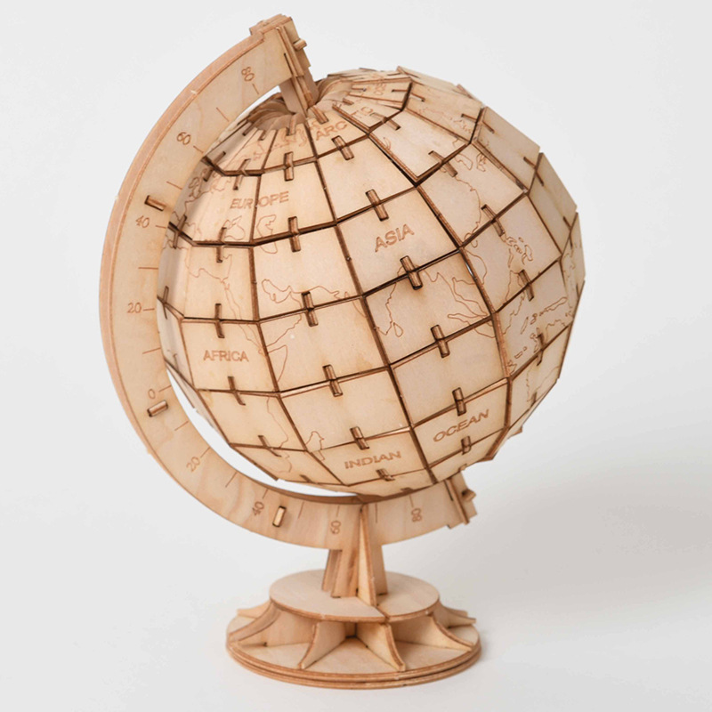 DIY Toys Globe 3D Wooden Puzzle Toy Assembly Model Wood Craft Kits Desk Decoration For Children Kids