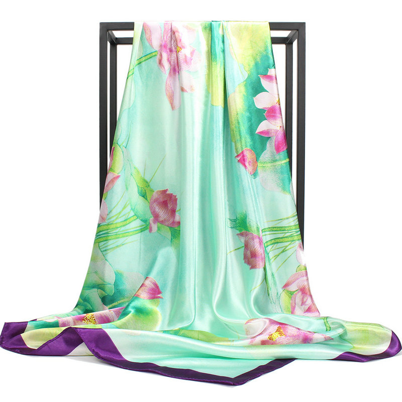 Fashion Summer Women <font><b>Silk</b></font> Satin <font><b>Scarf</b></font> Lotus Printed Thin Shawls Wraps Lady Square Head <font><b>Scarves</b></font> <font><b>90x90</b></font> Bandanna Pareo image