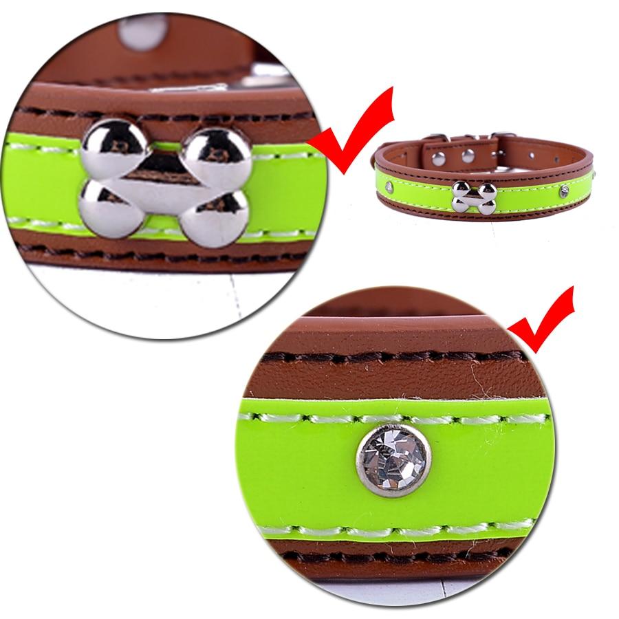 Personalized Kristal Studded Reflektif Kerah Anjing Pu Kulit Untuk - Produk hewan peliharaan - Foto 2