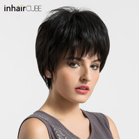 Esin Pixie Cut Natural Black Wigs Women Natural Short Straight Synthetic Wigs 8' For Women Heat Resistant Female Hair Pieces