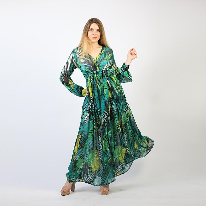 Summer Beach Maxi Dress Women Deep V Neck Print Party Dress Lace-Up Sexy Ladies Bohemian Dresses Elegant Long Dress 2