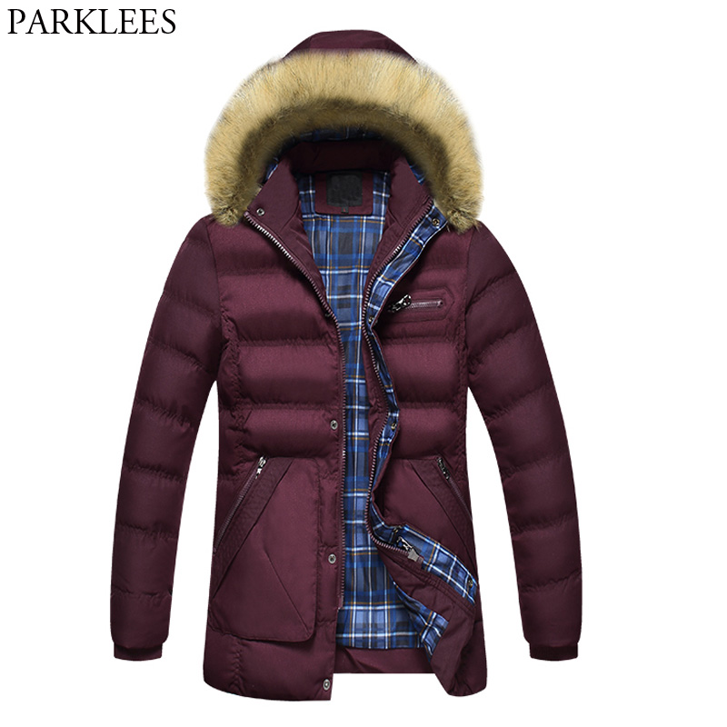 Warm Hooded Jacket Men 2017 Winter Thick Mens Jackets Coats Slim Fit Fur Collar Men Parka Zipper Casual Men's Jacket Veste Homme