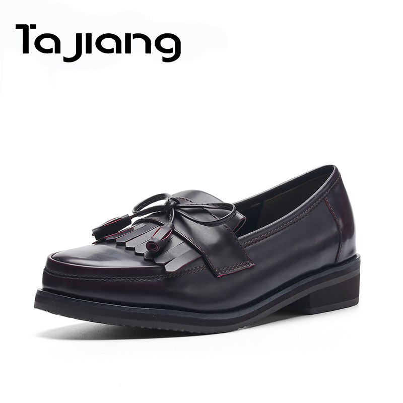 Ta Jiang Classic Casual Spring Autumn Vintage Patent Leather British Style Med Heels Women Fashion Pumps Girls Shoes Woman