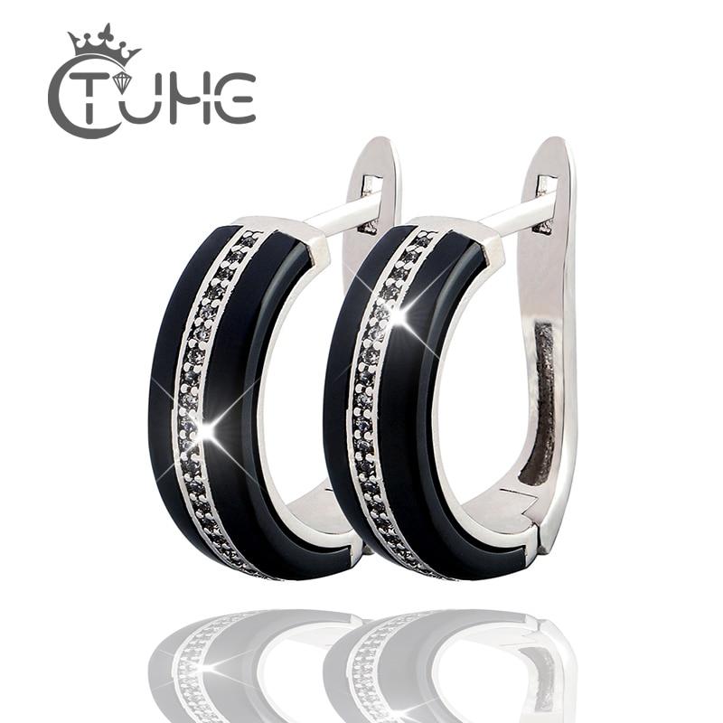 New Ceramic Round Stud Earring Earring With AAA CZ Fashion Black White Crystal U Shape Earrings For Women Nickel Free Wholesale