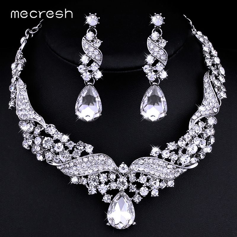 Mecresh Crystal Bridal Jewelry Sets Water Drop Earrings Necklace for Women Silver color Rhinestone Wedding Jewelry