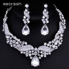Mecresh Crystal Joyería Nupcial Conjuntos de Collar de Plata para Las Mujeres Pendientes de Gota de Agua-color Rhinestone Joyería de La Boda TL006