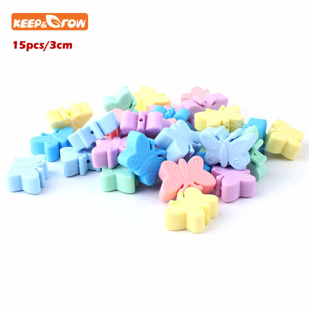 Keep&grow 15Pcs 3cm Silicone Beads Butterfly Teething Beads For Jewelry DIY Making Bead BPA Free Silicone Baby Teething Necklace