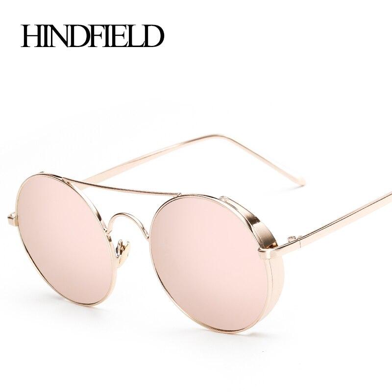 41937125ca Hindfield nueva Ronda metal Steam punk Gafas de sol mujer marca diseñador vintage  hombres Gafas UV400 moda gafas de sol