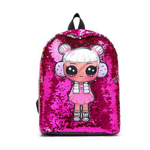2019 New Outing Kid Holographic Mini Backpack Surprise Girl Lovely School Bag Rucksack Holograph Girl Lol Doll Bag For School(China)