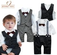 NYAN CAT Baby Wedding Tuxedo Toddler Boy Suit Bow Tie Romper Vest Black Gray Long Sleeve