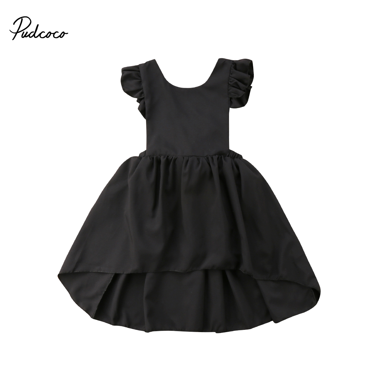 2018 Brand New Toddler Child Kids Baby Girl Infant Summer Bowknot Sleeveless Chiffon Ruffled Dress Solid Backless Sundress 1-5T baby girls infant wedding party bowknot sleeveless ruffled vest dress sundress
