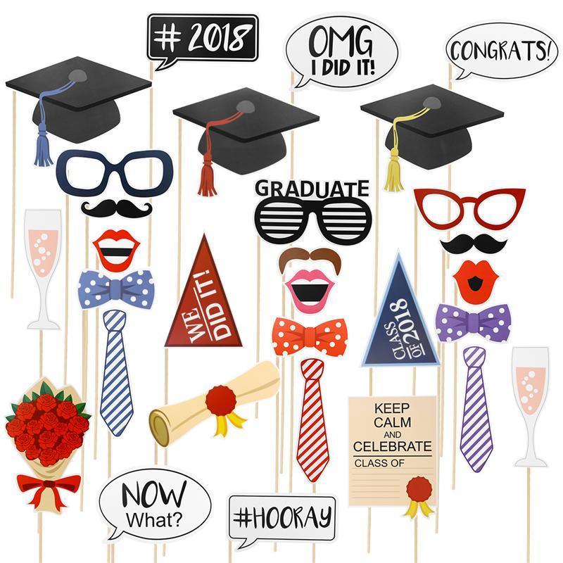 bestoyard 30 pcs class 2018 graduation party photo booth props
