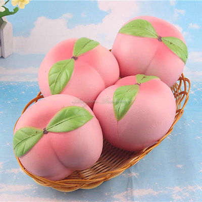 Squishy Pink Peach Table Decor 10CM  Slow Rising Cream Scented Artificial Fruit
