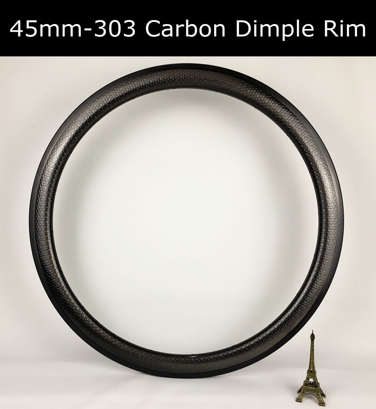 Tubeless 45mm 303 dimple golf surface carbon rims bike clincher tubular wheel special brake surface