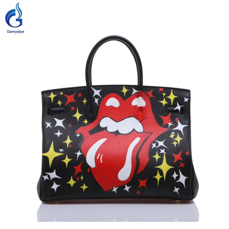 GAMYSTYE Graffiti leather handbags rock Women's luxury Bags new refresh Hand Painted totes Europe and America LIPS HIP-POT bags 2016 new cute smile cartoon eyes graffiti pu leather yellow handbags women s luxury bags hand painted punk painting women totes