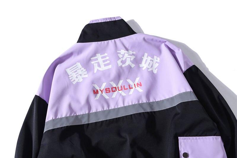 Side Pockets 3M Reflective Stripe Windbreaker Track Jackets 10