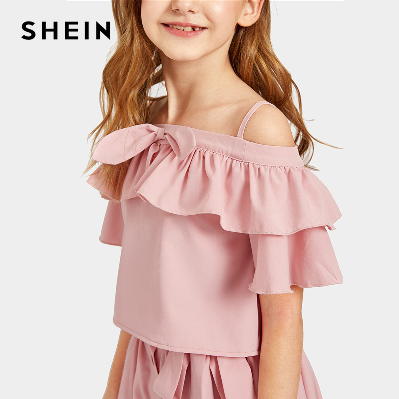 c5e5f3abc9185 US $22.0 40% OFF|SHEIN Kiddie Pink Off Shoulder Ruffle Top With Belted  Button Front Skirt Cute Suit Sets 2019 Summer Flared Casual Girls  Outfits-in ...