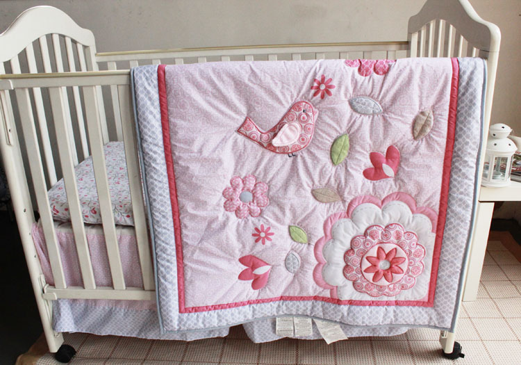Three Dimensional Embroidery Bird Flowers Crib Baby Bedding Sets 7 Pieces Quilt Per Bed Skirt Ed Set In From Mother Kids