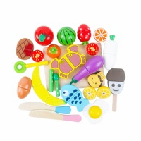 22PCS Wooden Cutting Food Sets,Magnetic Wood Fruits and Vegetables Toys With Basket Educational Learning Birthday Gift for Kids