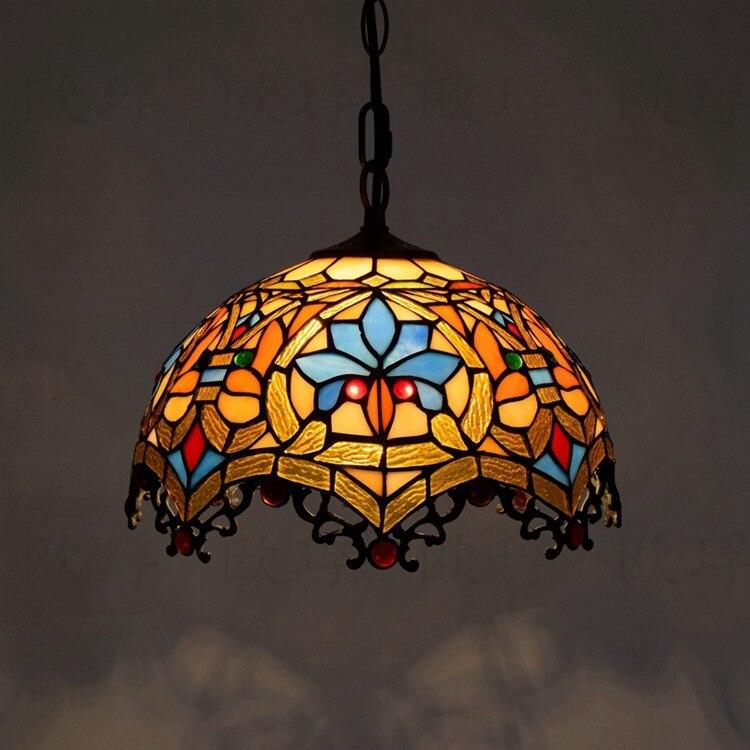 12-дюймовый Тиффани барокко Ретро витражи подвесной светильник ресторан спальня гостиная коридор крыльцо висит лампа
