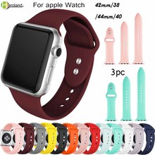 3pc strap For Apple Watch Series 3 2 1 38MM 42MM Soft Silicone Breathable Replacement band Sport for iwatch series 4 40MM 44MM цена