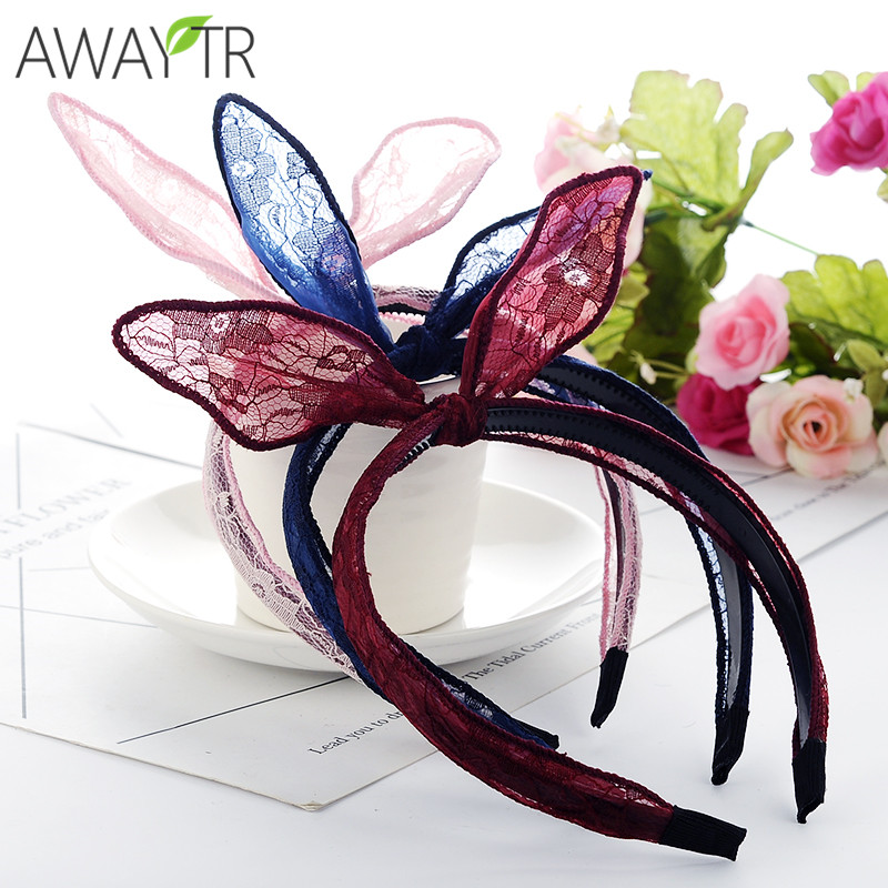 1ps Women Lovely Hairband Bow Knot Hair Hoop Rabbit Ears Elastic Lace Oranments Fabric H ...