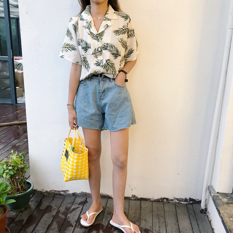 Women Summer Japanese Harajuku Style Turndown Collar Short Sleeve Plant Leaves Pattern Blouse Travel Shirt Women Tops Women's Clothing