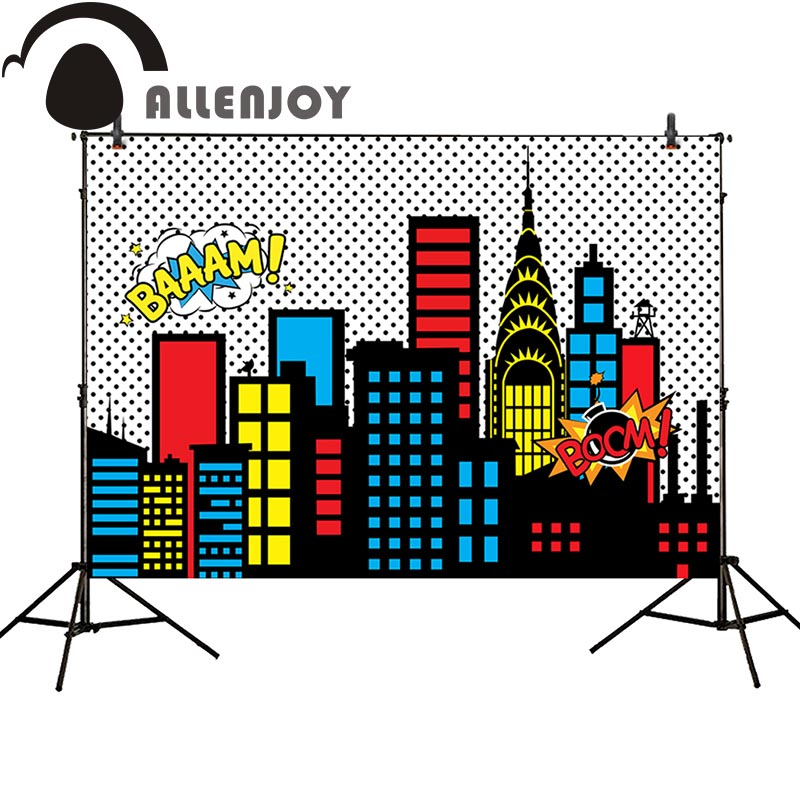 Allenjoy photography backdrop superhero cartoon building black dots children boom background photo studio photobooth allenjoy backdrop spring background green grass light bokeh dots photocall kids baby for photo studio