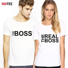 Matching Couple Clothes Lovers T-Shirts Letter The Real Boss Printed Women T-shirt Cotton Loose Fit T Shirt