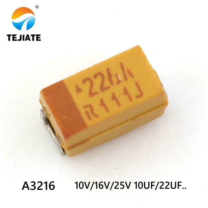 20PCS Tantalum Capacitor Type A 3216 Patch 25V 16V 10V 10uF 1uF 106 2.2UF 3.3UF 4.7UF 22UF 1206