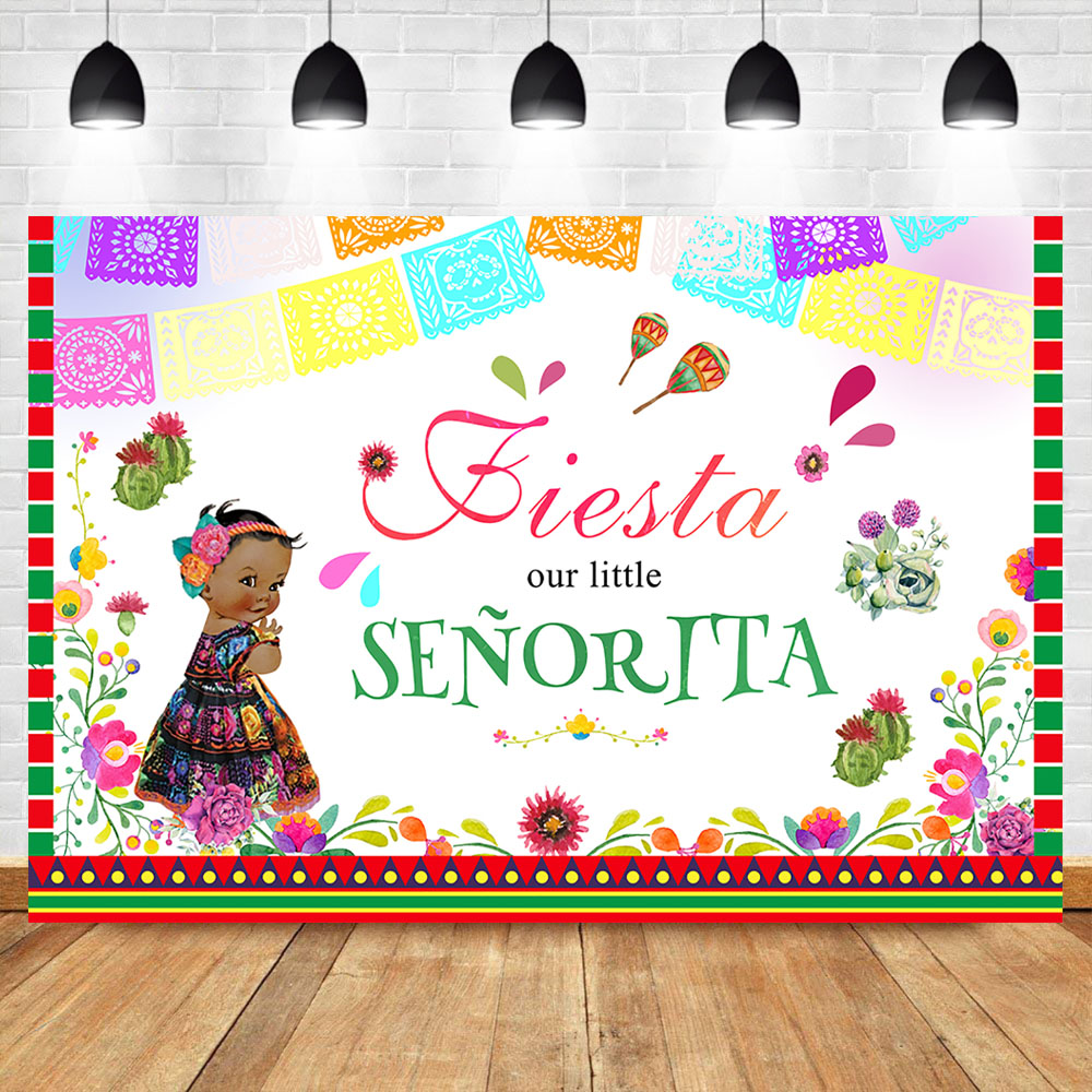 Mexican Fiesta Backdrop Little Gilr Baby Shower Photography Background Cactus Fiesta Baby Shower Party Decoration Banner in Background from Consumer Electronics