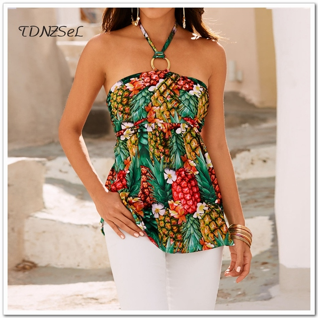Summer Women Sexy Pineapple Print Halter Neck T Shirts Sleeveless Backless Strapless Lace Up Loose Ananas Tees Tops Pullovers