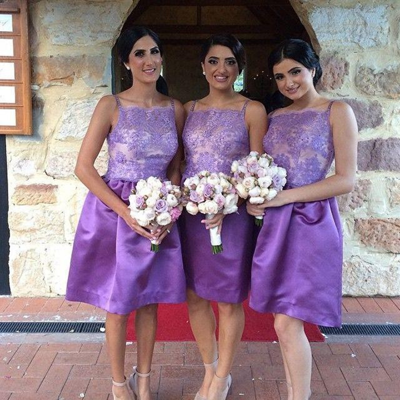 Lujoso Púrpura Vestidos Cortos De Dama De Honor Ideas Ornamento ...
