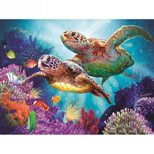 Full Square/Round Drill 5D DIY Diamond Painting Turtle family 3D Embroidery Cross Stitch  Home Decor dispaint full square round drill 5d diy diamond painting cartoon doll embroidery cross stitch 3d home decor a10549