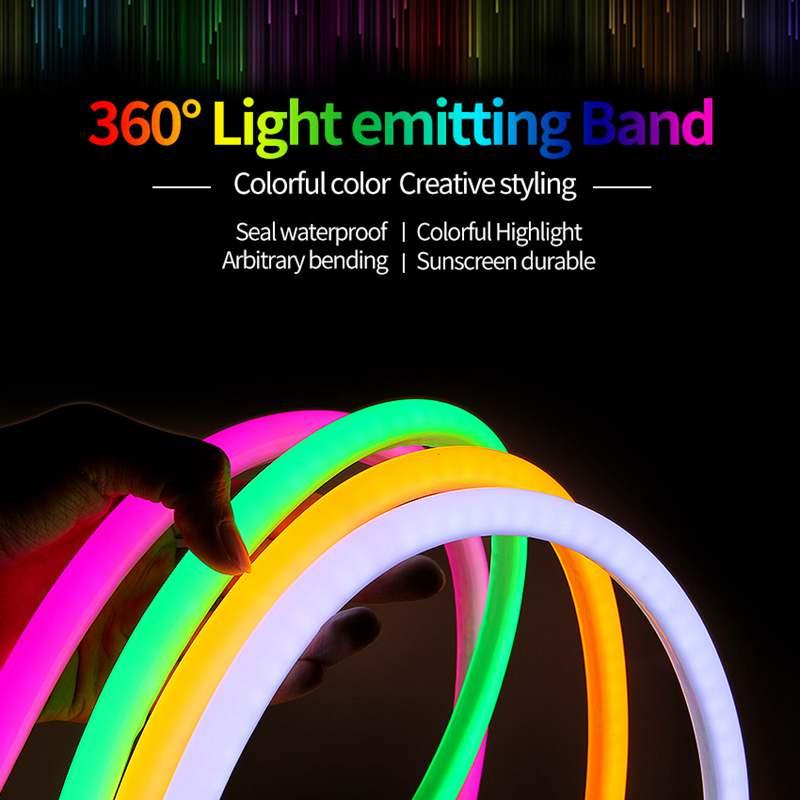 SZYOUMY 360 градусов свечение 220 В гибкий круглый 14 мм светодиодный неоновый светильник 2835 водонепроницаемый светильник полосы 120 светодиодный s/m наружное украшение - 6