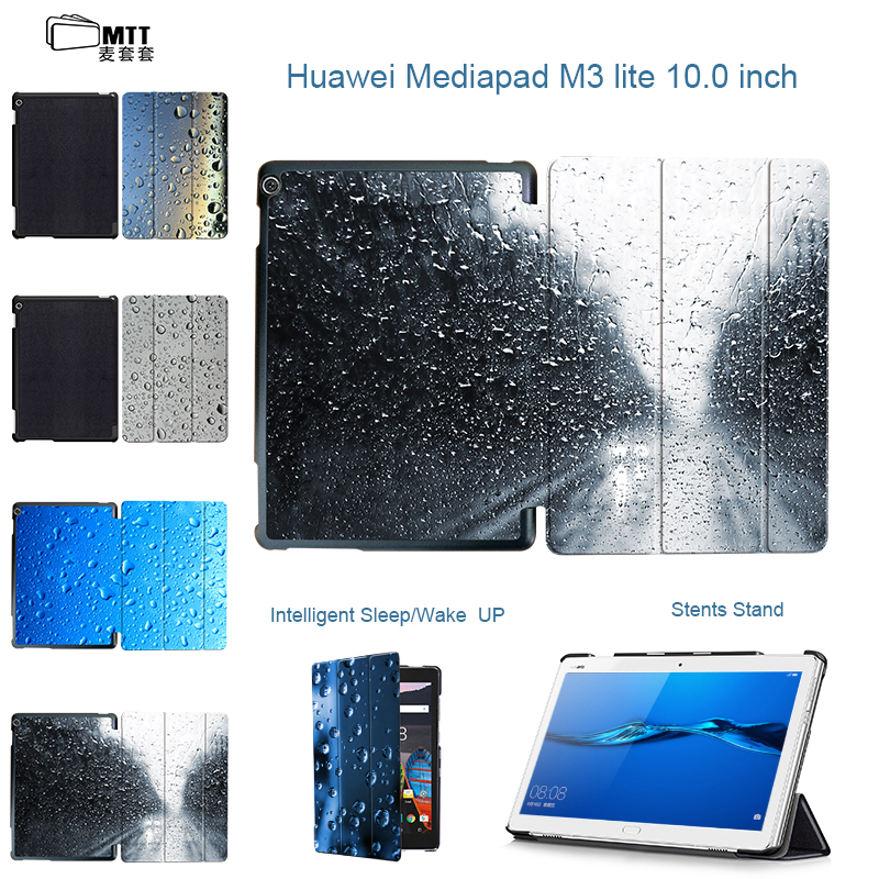 MTT 2017 New leather Smart Case For Huawei MediaPad M3 Lite 10 tablet Raindrops Cover M3 lite 10 Youth Edition BAH-W09 BAH-AL00 smart ultra stand cover case for 2017 huawei mediapad m3 lite 10 tablet for bah w09 bah al00 10 tablet free gift