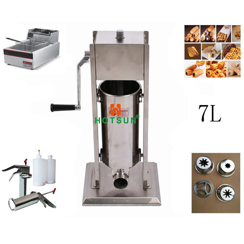 Free Shipping 7L Manual Spanish Donut Churros Machine W 12L Deep Fryer N 700ml Filler 12l automatic churros machine maker spanish snacks latin fruit machine
