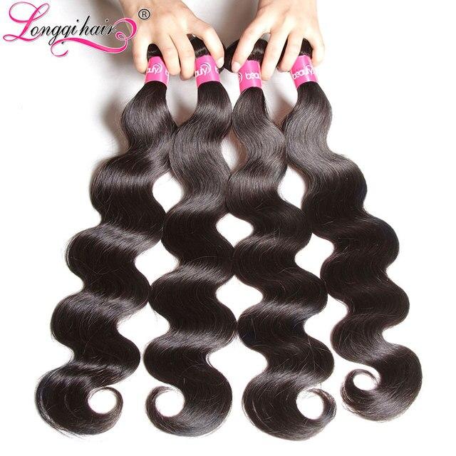 Longqi Hair Brazilian Body Wave Hair Weave Bundles Non-Remy Human Hair Natural Color 1PC 8''-30'' Can Be Mixed Legnth Free Ship