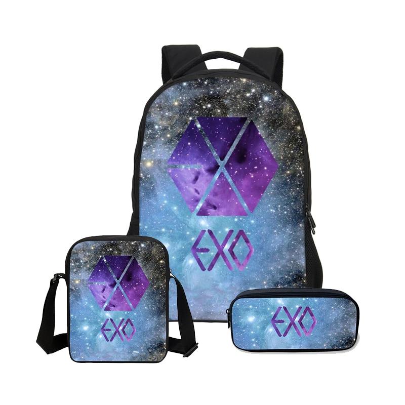 Veevanv 3 Pcs/set School Bags Exo Printing Backpack Children Shoulder Bag Fashion Mochila Girls 3d Letter Bookbag Boys Backpacks