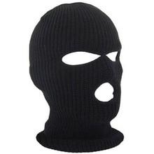 3 Отверстия Балаклава Лыж Маска Черный Вязать Hat Защитная Маска Шапочка Cap Снег Зима Warm-448E