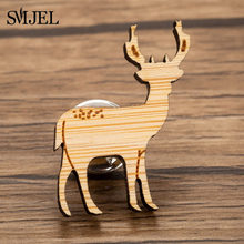 SMJEL Cute Deer Christmas Brooches for Women Girls Sweater Jackets Enamel Metal Brooch Pins Elk Collar Laser Engraver Jewelry(China)