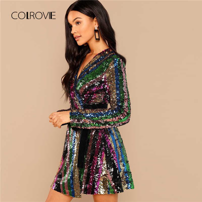 ea8d3305 ... COLROVIE Color Block Wrap Sequin V Neck Sexy Dress Women Autumn Long  Sleeve Club Party Dress ...