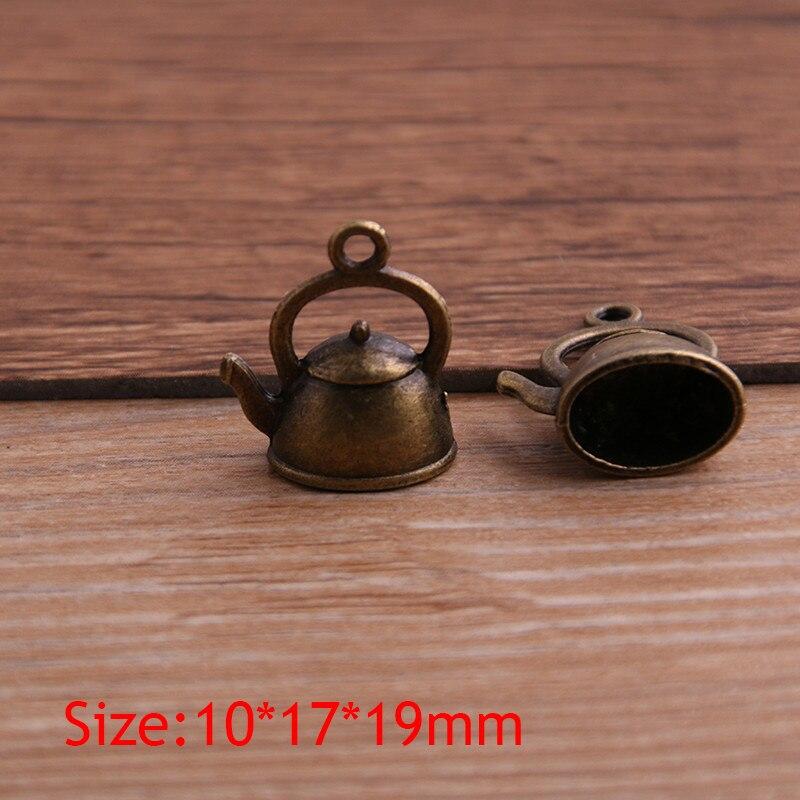 10PCS 10*17*19mm 3D Kettle Charms Teapot Pendant Two Color DIY Retro Jewelry Bracelet Necklace Charms Pendant 4