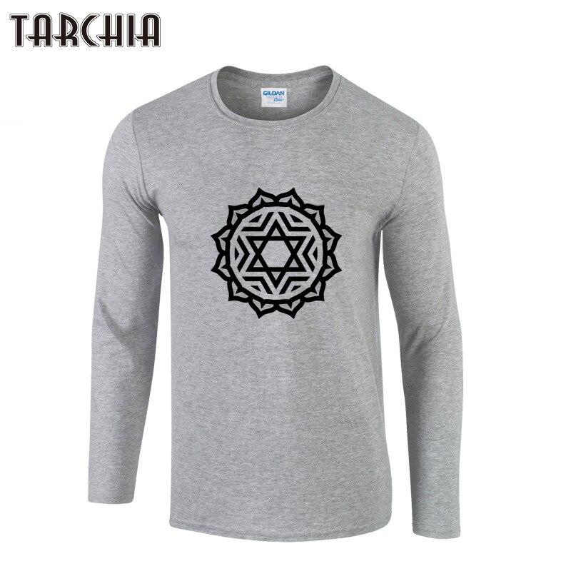 TARCHIA Mens T Shirts Fashion 2018 Long Sleeve T Shirt Men Printed 100% Cotton O-Neck T Shirt Autumn Clothing Casual T-Shirt