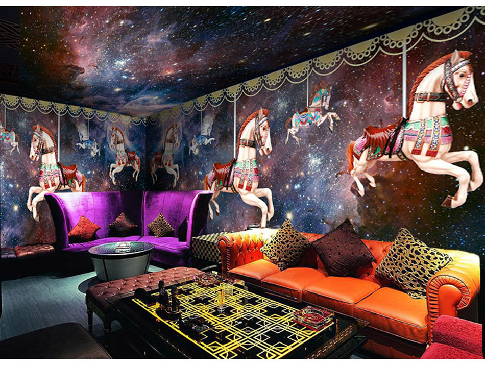 Rotate Vaulting Horse Wallpaper Mural Rolls for Hotel Restaurant Bar KTV Cafe Shop Kids Playgroup Living Room Bedroom Decor керамогранит atlas concorde россия privilege miele 60x60