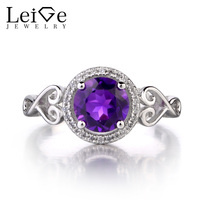 Leige Jewelry Natural Amethyst 925 Sterling Silver Ring Round Cut Gemstone February Birthstone Promise Wedding Rings