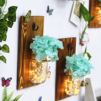 Glass Bottle Nordic Wall Hanging Decoration Living Room Wall Hanging Wooden Wall Flower Arrangement Flower Vase with Light